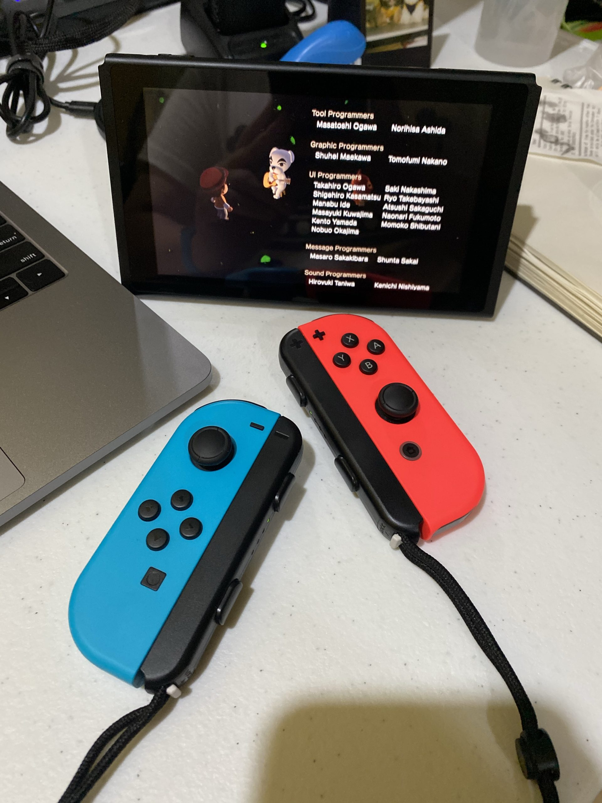 The Nintendo Switch on tabletop for watching and sharing.